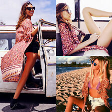 Sexy Women Boho Swimwear Beachwear Chiffon Beach Cover Up Tops Shirt Kimono Coat