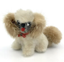 Vintage Mink Fur Pekinese Toy Dog Fashion Doll Accessory 2in Germany Miniature