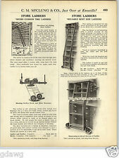 1925 PAPER AD Myers Reliable Bent Side Store Library Rolling Ladder Bolt Case