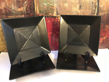 "4 NEW Oneida / Sakura Kowa 8 3/8"" Matte Black Studio Art Square Salad Plates"