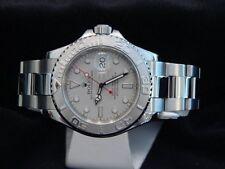 Rolex Yacht Master Midsize Stainless Steel Watch Platinum Dial Bezel 35mm 168622