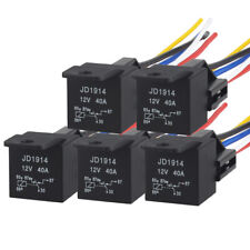 5PACK 12V 40Amp Bosch Relay Harness Kit 5Pin SPDT Automotive Relay Wires Socket