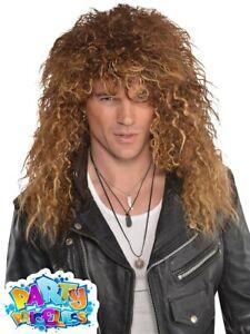 Mens Glam Rock Wig Bon Jovi 1980s Punk Fancy Dress Accessory