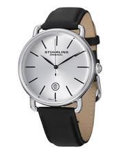 Stuhrling Men's 42mm Black Calfskin Stainless Steel Case Quartz Watch 768.01