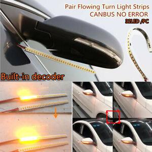 Pair 32LED 18CM Error Free Auto Car Rear Mirrors Flowing Turn Signal Strip Light