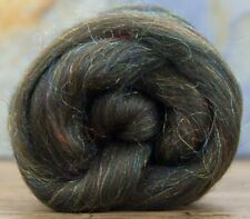 4 Ounces Merino Wool/Nylon Combed Top/Roving - Moss Agate Sparkle FREE SHIPPING