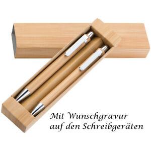 Bambus-Schreibset mit Gravur / bestehend aus Kugelschreiber und Druckbleistift