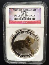 2012 P Australia Silver Gilt/Gilded Koala NGC MS69 One of first 500 Struck Flag