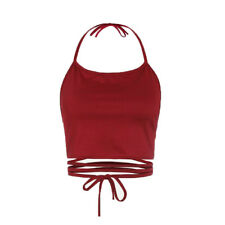Fashion Women Sleeveless Backless Solid Vest Halter Tank Tops Blouse T-Shirt