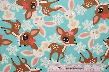 "22"" Remnant Deer Fawns Bunnies Snowflakes Aqua Girls Cotton Flannel Fabric(J8) >"