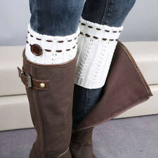 Womens Fashion Knit Lace Cuffs Stretch Boot Crochet Leg Warmer Knited Socks