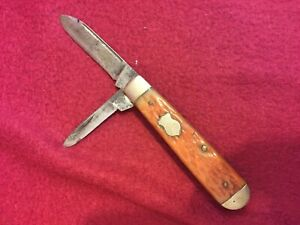 OLD BOKER 9695 MADE IN USA BONE 2 BLADES VINTAGE POCKET KNIFE