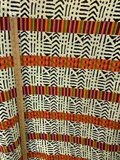 IVORY BLACK ORANGE MULTICOLOR African Wax Print 100% Cotton Fabric (44 in.) BTY