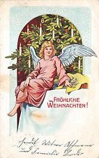 More details for bg19997 weihnachten christmas angel fir candle embossed  germany