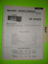Sharp gf-810 d service manual original repair book stereo tape player boombox
