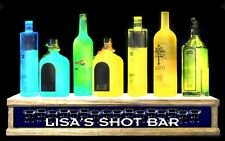 "2' lighted PERSONALIZED with""your name"" shot glass & liquor bottle display"