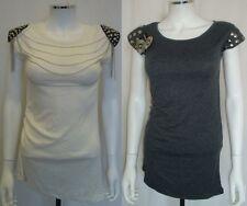 Studded Power Shoulder T Shirt Dress, UK 8, S
