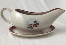 Royal Seasons Stoneware Snowman Snowflake Dark Red Gravy Boat with Under Plate