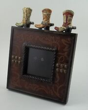 Single Standing Photo Picture Frame Cowboy Boots & Spurs Leather Bullet Material