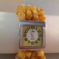 Aria Gemstone Agate Stretch Bracelet Square Silvertone Watch NEW with box