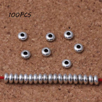 100X Stainless Spacer Metal Round Loose beads Jewelry bracelet making DIY Access