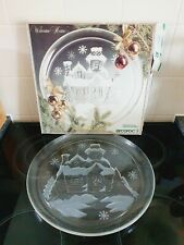 """Vintage Arcoroc plate France Welcome Home Glass Christmas Plate Boxed large 13"""""""