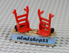 LEGO - 2x Red Hand Carts Truck Dolly Minifigure Utensil City Town Train Lot