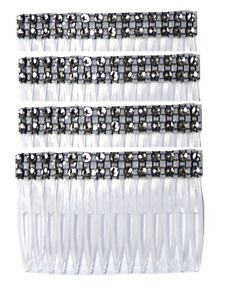 A pack of 4 Black Clear Grip Hair Combs Slides 7cm with Diamontie effect