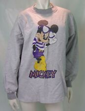 Disney Wear Ladies Sweatshirt Size M Cotton Mickey Mouse Stripped Grey Vintage