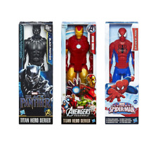 (Set 3) Marvel Avengers Titan Hero Figures: Iron Man, Black Panther & Spider-man