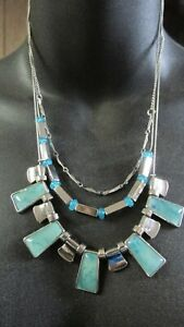 3 STRAND THIN CHAIN NECKLACE WITH AQUA BEADS - C brand
