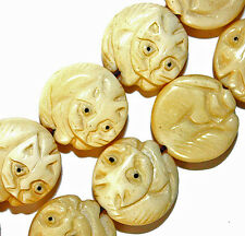 CARVED BONE ROUND KITTY CAT BEADS 24 BEAD STRANDS 17MM B5