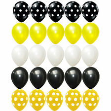 25X Latex balloons Bumblebee Polka dots Black Yellow white birthday Decorations