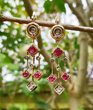 Art Deco Inspired 14ct Yellow Gold Ruby & Diamond Drop Earrings