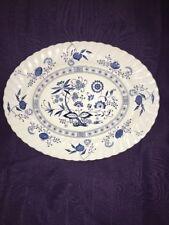 BLUE NORDIC ONION Johnson Brothers Ironstone England Blue White Large Platter