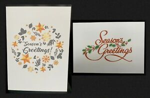 SEASONS GREETING CARDS. 12 Cards In 2 Design With Envelope (A6 - 105 X 148mm)