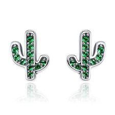 925 Sterling Silver Dazzling Green Cactus Stud Earrings for Women K9k7 S4q3