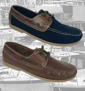 Seafarer Yachtsman Deck Shoes Mens Real Leather Plain Front Deck Shoe  FREEPOST