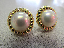 Genuine Tiffany & Company 18k Gold Mabe Pearl Earrings with Posts   Make Offer