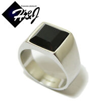 Men's Stainless Steel Black Square Onyx Silver Tone Ring Size 7-13