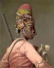 Excellent huge Oil painting portrait Negro Regular soldiers - Young black girl