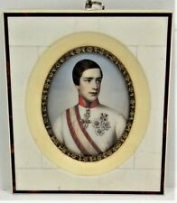 Oil On Porcelain German Military Cadet in Oval Gold Gilt Bone Frame