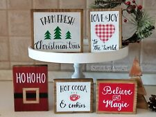 Wood Mini Sign for Tiered Tray and Shelves. Farmhouse Coffee Bar Kitchen Decor.