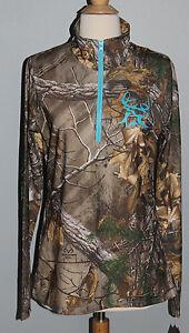 New REALTREE Bushmaster Camo Quarter Zip Top Ladies Shirt Size L XL Womens Teal
