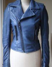 BALENCIAGA Essence Bleu en Cuir Motard Veste UK 8