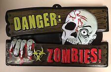 2xHalloween Party Feier Deko Wanddeko Schild Danger Zombies
