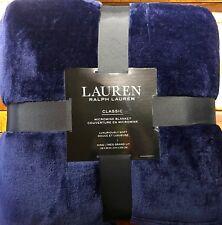 """Lauren Ralph Lauren Classic MicroMink Blanket Navy Blue King 108""""x 90"""" Nwt"""