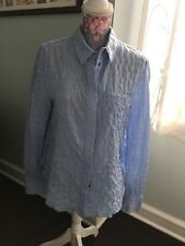 DEREK LAM 10 CROSBY-LIGHT BLUE COTTON CRINKLED LONG SLEEVES SHIRT-SIZE:4-MINT!!