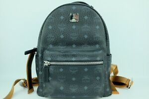 100% Authentic MCM Black The Stark Backpack In Visetos With Dust Bag