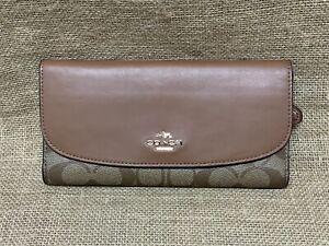 New COACH F57319 Signature PVC Leathe Wallet Khaki/Saddle With Checkbook